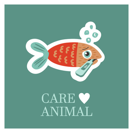 Veterinary care. Care of animals. Sick fish with a thermometer. The emblem of the clinic. Vector illustration of a sticker.