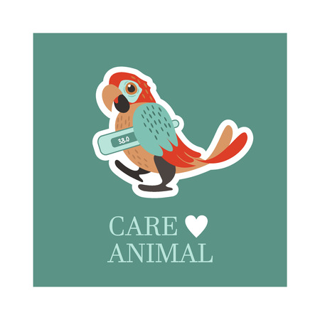 Veterinary care. Care of animals. Sick parrot with a thermometer. The emblem of the clinic. Vector illustration of a sticker.