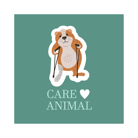 Veterinary care. Care of animals. A sick hamster with a broken leg on crutches. The emblem of the clinic. Vector illustration of a sticker. Illustration