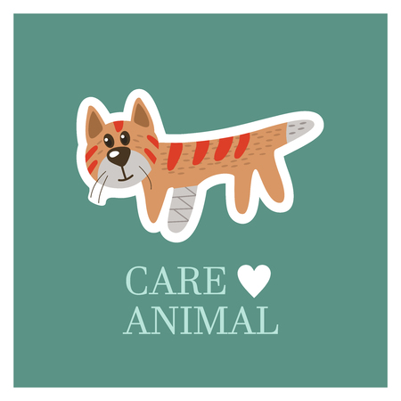 Veterinary care. Care of animals. A sick cat with a broken leg. The emblem of the clinic. Vector illustration of a sticker.