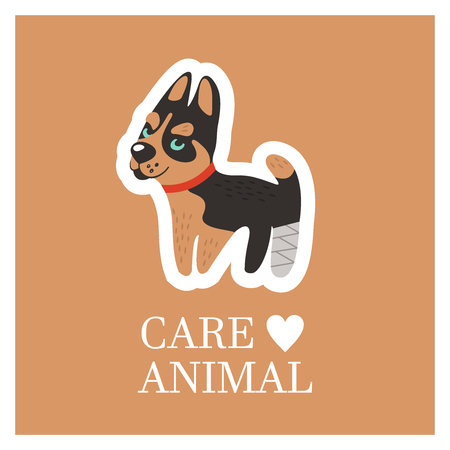 Veterinary care. Care of animals. Cute Husky dog with a broken paw. The emblem of the clinic. Vector illustration of a sticker. Illustration