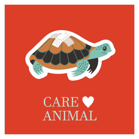 Veterinary care. Care of animals. Sick turtle with a band-aid. The emblem of the clinic. Vector illustration of a sticker. Ilustrace