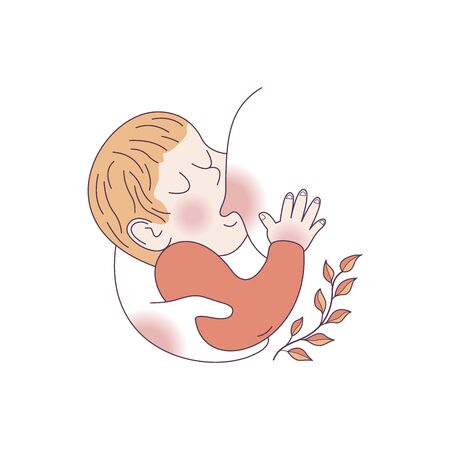 Vector illustration, sketch style postcard for world breastfeeding Week. The baby sucks the mothers breast. Ilustração