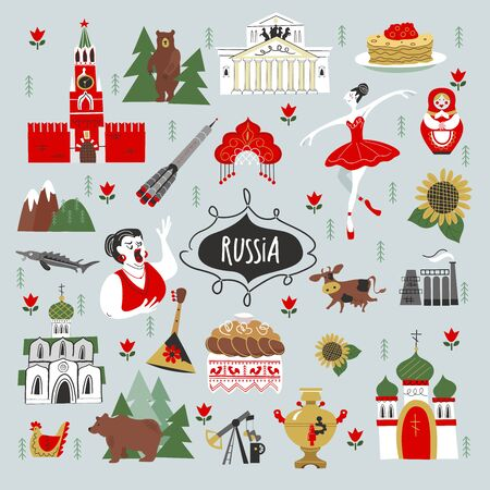 Russia. Set of vector elements. Russian sights, traditions, culture, art, symbols of Russia. Hand drawn illustration.