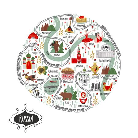 Russia. Vector round illustration about Russia. A large set of vector icons about Russia. Culture, architecture, art, traditions, nature, agriculture, oil production, metallurgy of Russia. Illustration