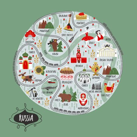 Russia. Vector round illustration about Russia. A large set of vector icons about Russia. Culture, architecture, art, traditions, nature, agriculture, oil production, metallurgy of Russia. Ilustracja