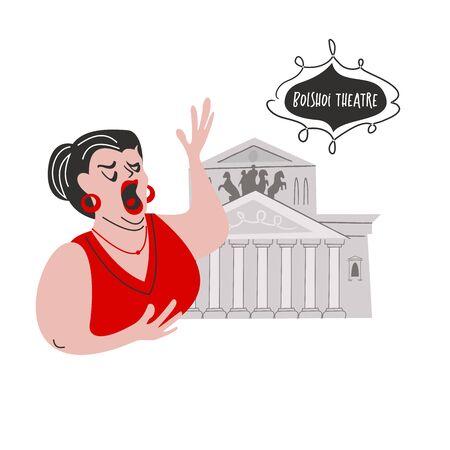 Russia, cultura russa, balletto russo. Disegnato a mano di illustrazione vettoriale. Cantante d'opera sullo sfondo del teatro Bolshoi.