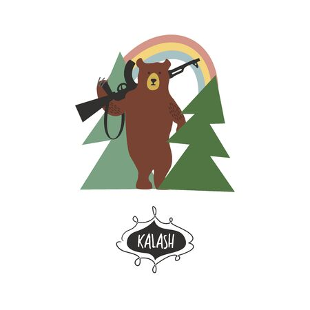 Russia. Russian bear with a gun in the woods. Hand drawn vector illustration.