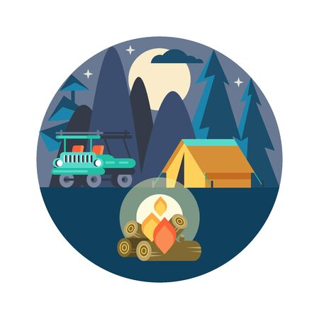 Camping. Vector emblem. Summer holidays in a tent on the nature. Night in the camp.