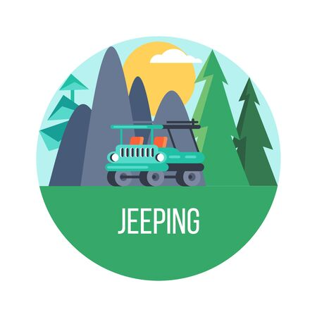 The journey by car. Vector emblem. Mountain landscape. Иллюстрация