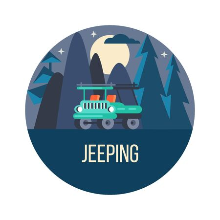 The journey by car. Vector emblem. Night landscape.