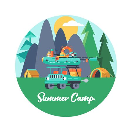 Camping. Vector emblem. Summer holidays in a tent on the nature.  rubber boat for fishing.