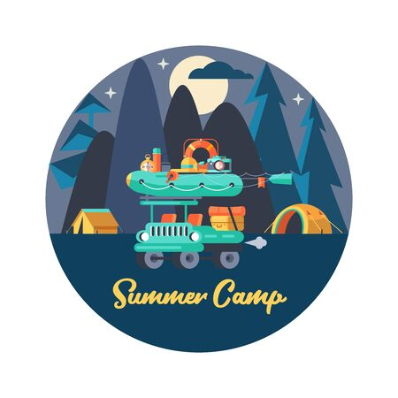 Camping. Vector emblem. Summer holidays in a tent on the nature. Night in the camp.  rubber boat for fishing. Ilustracja