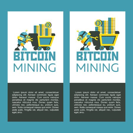 Bitcoin mining. A cute robot carries a mining trolley with bitcoins. Concept. Vector illustration.