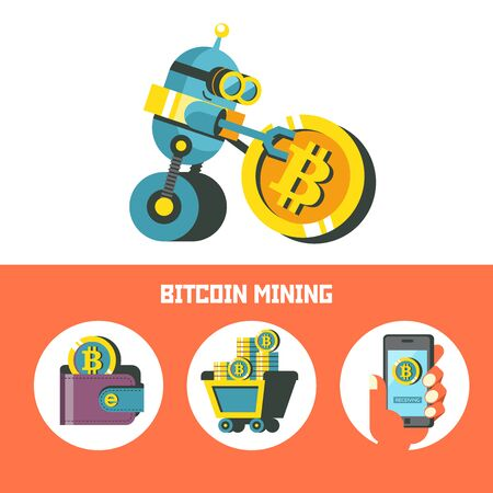 Bitcoin mining. Cute robot wheels ahead large coin bitcoin. Concept. Vector illustration.  Bitcoin mining icon set. Ilustracja