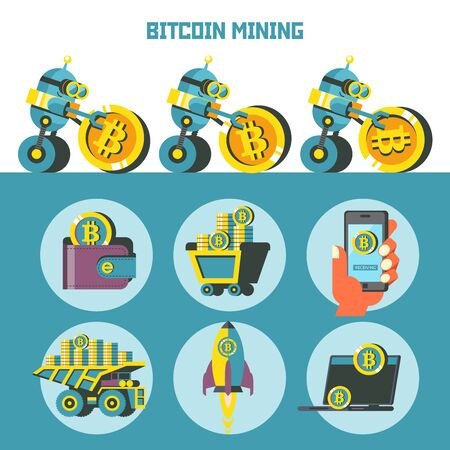 Bitcoin mining. Cute robot wheels ahead large coin bitcoin. Concept. Vector illustration.  Bitcoin mining icon set. Иллюстрация
