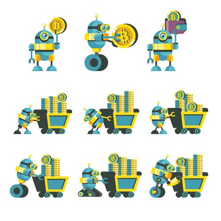 Bitcoin mining. A cute robot carries a mining trolley with bitcoins. Concept. Vector illustration.  Bitcoin mining icon set. Иллюстрация