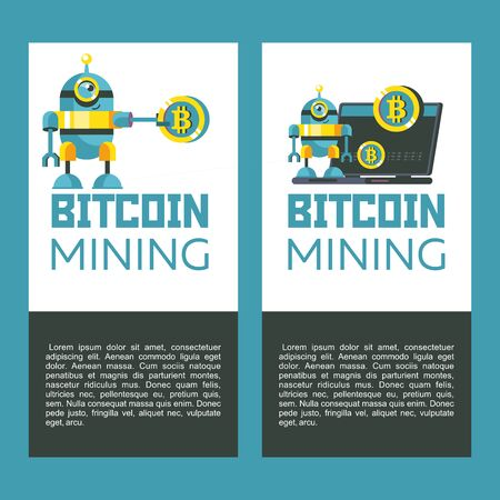 Bitcoin mining. Cute robot holding a large coin bitcoin. Concept. Vector illustration. The robot stands near the laptop producing bitcoins.