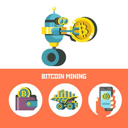 Bitcoin mining. A cute robot carries a big bitcoin coin. Concept. Vector illustration.  Bitcoin mining icon set.