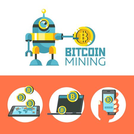 Bitcoin mining. Cute robot holding a large coin bitcoin. Concept. Vector illustration.  Bitcoin mining icon set.