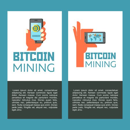 Hand holds smartphone with world map and bitcoins. Bitcoin mining. Cute robot produces bitcoins. Vector illustration.