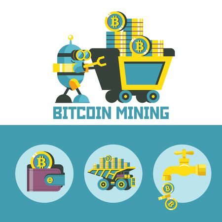 Bitcoin mining. A cute robot carries a mining trolley with bitcoins. Concept. Vector illustration.  Bitcoin mining icon set. Ilustracja