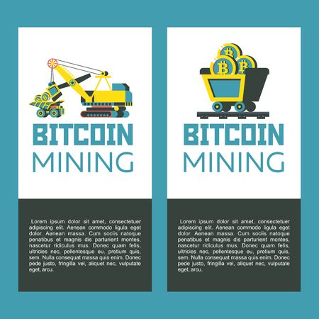 Bitcoin mining. Concept. Vector illustration. Loading bitcoins into a dump truck. Miner trolley with bitcoins. Ilustracja