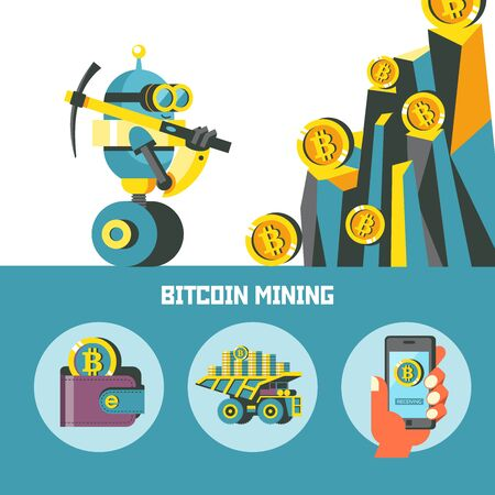 Bitcoin mining. Concept. Vector illustration. A cute robot with a pick produces bitcoins. Set of vector bitcoin icons.