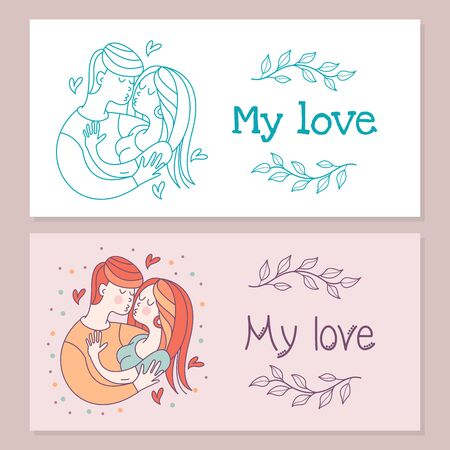 Boy and girl. Bride and groom. Love. Vector illustration in a linear fashion. Valentines day card.