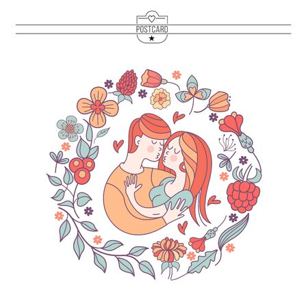 Boy and girl. Bride and groom. Love. Vector illustration in a linear fashion. Valentine's day card.  Couple in love framed by a floral wreath. Illustration