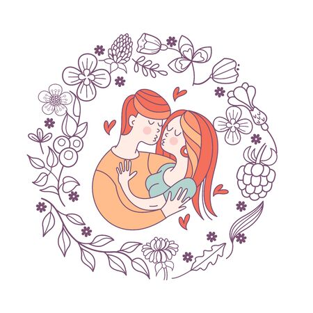 Boy and girl. Bride and groom. Love. Vector illustration in a linear fashion. Valentines day card.  Couple in love framed by a floral wreath.