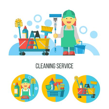 Cleaning service. Set of vector icons. Professional cleaning lady with bucket and MOP.