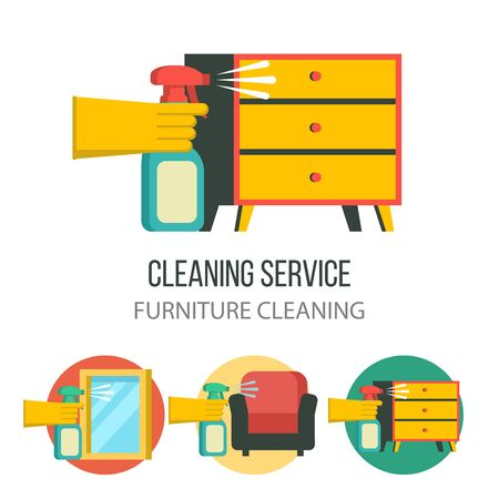 Cleaning service. A hand in a rubber glove holds a sprayer aimed at the dresser. Set of vector icons. Cleaning the furniture. Washing of glasses and mirrors. Ilustracja