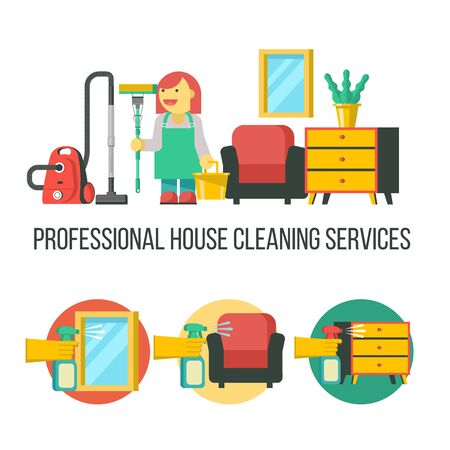 Cleaning service. Professional cleaning lady with a bucket, MOP and a vacuum cleaner. Set of vector icons. Cleaning of glasses and mirrors. Cleaning the furniture.