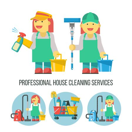 Cleaning service. Vector illustration. Two professional cleaners in overalls. With a bucket, MOP and spray bottle in hand. Cleaning icons set. The cleaning lady with the vacuum cleaner.