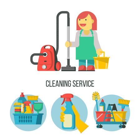 Cleaning service. Set of vector icons. Professional cleaning lady with a bucket and a vacuum cleaner. Ilustracja