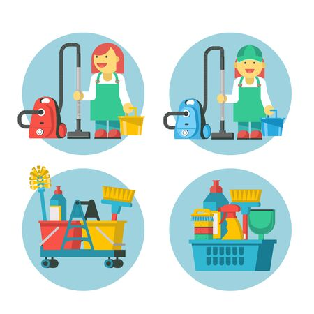 Cleaning service. Set of icons. Professional cleaning lady with a vacuum cleaner and bucket. Cleaning kit.