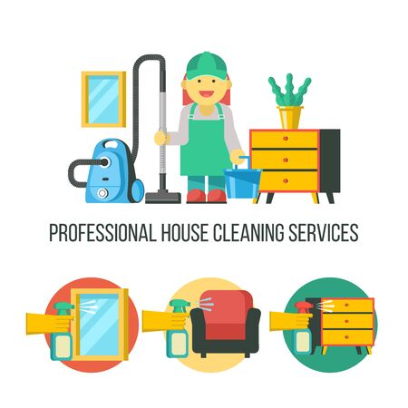Cleaning service. Vector emblem. Cleaning icon set. The maid with a vacuum cleaner and a bucket. Professional house cleaning.