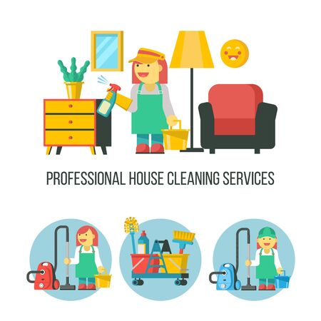 Cleaning service. Vector emblem. Cleaning icon set. A maid with a bucket and a spray. Professional house cleaning.
