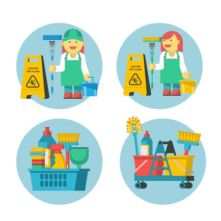 Cleaning service. Set of icons. Professional cleaning lady with MOP and bucket. Yellow wet floor sign. Cleaning kit. Иллюстрация