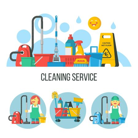 Cleaning service. Cleaning kit. Professional maid in overalls with a vacuum cleaner and a bucket. Yellow wet floor sign.