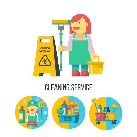 Cleaning service. Set of icons. Professional cleaning lady with MOP and bucket. Yellow wet floor sign. Cleaning kit. Ilustracja