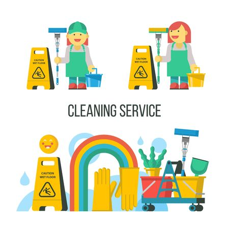 Cleaning service. Cleaning kit. Professional maid in overalls with a MOP and bucket. Yellow wet floor sign.