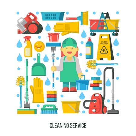 Cleaning service. A set of cleaning accessories icons arranged in the shape of a rectangle. In the center of the composition a professional maid in overalls with a MOP and bucket. Ilustracja