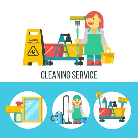 Cleaning service. Set of icons. Professional cleaning lady with MOP and bucket. Yellow wet floor sign. The cleaning lady with the vacuum cleaner. Cleaning kit. A hand in a rubber glove holds a sprayer aimed at the window. Ilustracja