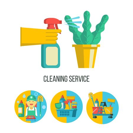 Cleaning service. Set of cleaning accessories icons. A hand in a rubber glove holds a sprayer aimed at the potted plant. Professional maid in overalls with a toilet brush and a bottle of cleaning agent. Иллюстрация