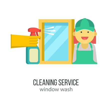 Cleaning service. Maid in overalls. A hand in a rubber glove holds a sprayer aimed at the window. Vector icons. Ilustracja