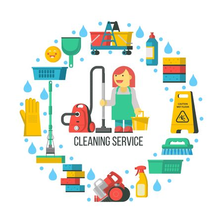 Cleaning service. Set of cleaning accessories icons arranged in a circle. In the center of the composition a professional maid in overalls with a vacuum cleaner and a bucket. Иллюстрация