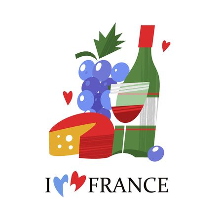 I love France. A bottle of wine, cheese and a bunch of grapes. Vector illustration on white background.
