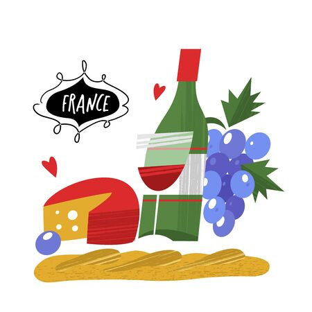 A bottle of wine, cheese, French baguette and a bunch of grapes. Vector illustration on white background.